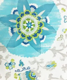 """Fabric -""""Outdoor - Silsila, Poolside""""  -54"""" wide 100% Polyester   A beautiful, over-sized, Suzani style print colored with watery aqua and turquoise and teal blues, lime and avocado green, soft dove and putty grey-taupe on white by P Kaufman.  Pattern repeat is 36"""" vertical by 27"""" horizontal. Largest flower medallion (bloom) measures 13"""" in diameter.   Made of a heavier, woven, 100%"""