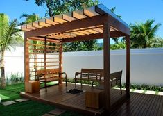 The wooden pergola is a good solution to add beauty to your garden. If you are not ready to spend thousands of dollars for building a cozy pergola then you may Diy Pergola, Building A Pergola, Corner Pergola, Small Pergola, Pergola Attached To House, Deck With Pergola, Cheap Pergola, Wooden Pergola, Covered Pergola