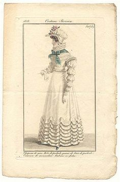 Journal des Dames et des Modes, 1823. I adore the swags on the skirts of this gown!