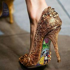 These shoes tho... Beauty and the Beast gold filigree heels