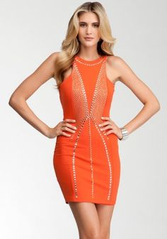 Bebe Addiction Size Xs Gold Studded Bodycon Dress - Orange