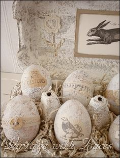 Easter Decor: Decoupaged and embellished plastic eggs in altered egg carton