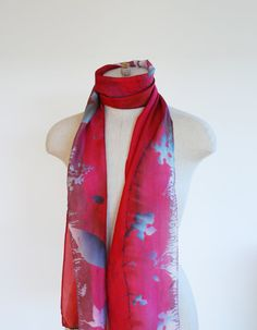China red hand printed silk scarf hand painted silk by 88editions
