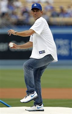 Jim Caviezel at Dodgers Stadium todayin L.A. ...