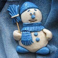 Соленое тесто. Новогодняя поделка «Снеговичок» с фото инструкцией