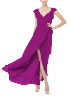 DescriptionJoanna August DorianLongFull length bridesmaid dressWrap…