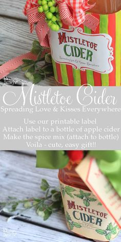Make Mistletoe Cider for family and friends! Mistletoe Cider spreads love and kisses everywhere! Attach our printable label to a bottle of apple cider. Make the spice mix using our recipe (attach to bottle). Super easy gift that friends will love receiving, making and drinking the hot Apple Cider. Design Dazzle #homemadefoodgifts, #foodgiftlabels