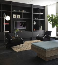 Living Room Built Ins, Living Room Wall Units, Living Room Shelves, Living Room Tv, Living Room With Fireplace, Home And Living, Lounge Design, Muebles Living, Home Interior Design