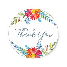 Colour Spring Flowers Thank you stickers - spring wedding diy marriage customize personalize couple idea individuel