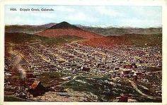 Cripple Creek Colorado CO 1908 Aerial Town View Antique Vintage Postcard