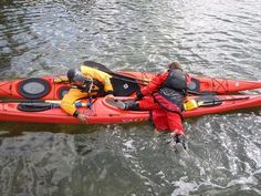 Kayak T-Rescue Get Back into Kayak With Help - Photo © by George E. Sayour