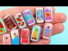 How to make Barbie phone : DIY Claire's-inspired miniature phone cases + an iPhone. I absolutely love Claire's phone cases, therefore I. Miniature Crafts, Miniature Dolls, Miniature Bottles, Miniature Food, Squishies, Mini Choses, Coca Cola, Diy Doll Miniatures, Accessoires Barbie