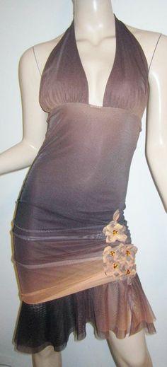 EMA SAVAHL Brown Ombre Mesh Draped Hem Floral Emebellished Detail Halter Dress S...http://stores.shop.ebay.com/vintagefluxed