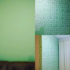 #FassavcmesmoDecorando parede com #stencil super pratico e fácil parede sem graça e simples com #stencil tudo fica pratico e bonito podemos decorar quartos salas parede central de destaque