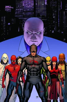 Daredevil & friends fighting the Kingpin & the Hand in the Marvel Comics event Shadowland - art by John Cassaday