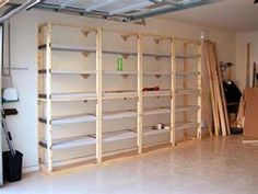 How to build sturdy shelving. I think this could be dressed up some by  using pallets to give it