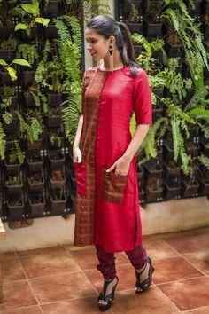 Buy House Of Blouse Maroon Silk Printed Kurti online Ethnic Fashion, Indian Fashion, House Of Blouse, Ethnic Suit, Kurti Styles, Churidar Designs, Kurti Patterns, Printed Kurti, Girls Formal Dresses