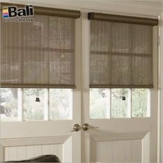 Bali Lanai, Mist, Tropics & Vineyard Solar Shades Openness) work well on doors with large windows to block the intense sun. They come in a variety of and do your can adapt them to your - French Door Window Coverings, French Doors With Screens, French Door Curtains, Door Window Treatments, Front Doors With Windows, French Doors Patio, Patio Doors, Shades For French Doors, Curtain For Door Window