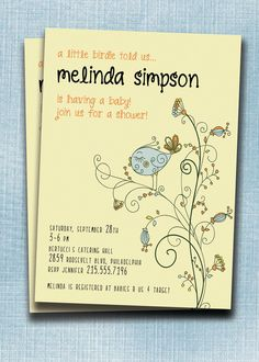 Melinda Little Birdie DIGITAL Baby Shower Invitation. Printable. Blue, Yellow & Orange for boy, also available in pink.. $18.00, via Etsy.