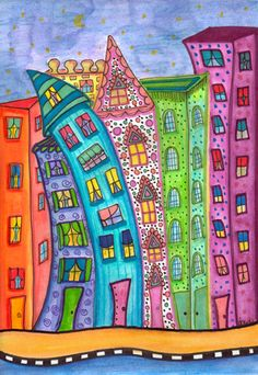 The Leaning Village - Dawn Collins Shared by www.nwquiltingexpo.com @nwqe #nwqe #art