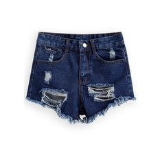 Ripped Fringe Denim Shorts (96 SVC) ❤ liked on Polyvore