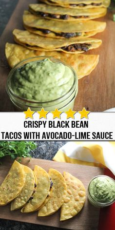 crispy black bean tacos with avocado-lime sauce These crunchy tacos filled with perfectly spiced black beans and melty cheese are seriously addictive! The avocado lime sauce is to die for. A simple vegetarian meal that kids, teens and adults will love. Vegetarian Recipes Easy, Veggie Recipes, Whole Food Recipes, Chicken Recipes, Cooking Recipes, Healthy Recipes, Vegetarian Meal, Easy Mexican Food Recipes, Comida Latina