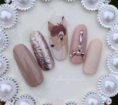 NagelDesign Elegant ( Bambi… One of my favour… ) – NagelDesign Elegant ♥ Disney Acrylic Nails, Best Acrylic Nails, Trendy Nail Art, Cute Nail Art, Long Nails, My Nails, Super Cute Nails, Dream Nails, Silver Nails