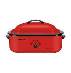 Nesco® 18-qt. Red Roaster Oven with Porcelain Cookwell