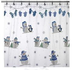 Nice Snowman Penguin Christmas Vinyl Shower Curtain U0026 Hook Set Snow Oh What Fun  NEW
