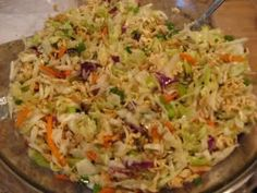 Hawaiian Coleslaw/Oriental Salad, so simple, great side dish or pot luck dish. Add chopped up cooked seasoned chicken or small shrimp if desired. Hawaiian Coleslaw, Hawaiian Salad, Ramen Salad, Ramen Coleslaw, Coleslaw Recipes, Asian Coleslaw, Coleslaw Salad, Asian Slaw, Shrimp Salad