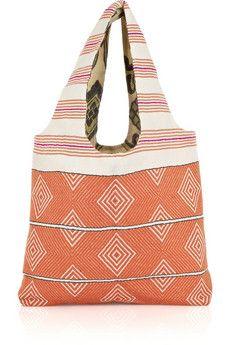 LemLem Tibeb reversible cotton-blend bag | NET-A-PORTER Marc Jacobs Watch, Lemlem, Bohemian Beach, Beach Look, Anklet, Tory Burch, Tote Bag, Orange, Cotton