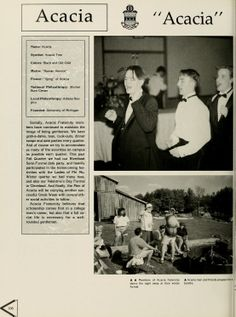 Athena yearbook, 1994. The men of the Acacia fraternity at Ohio University dance it out at their winter formal and host a bonfire. :: Ohio University Archives