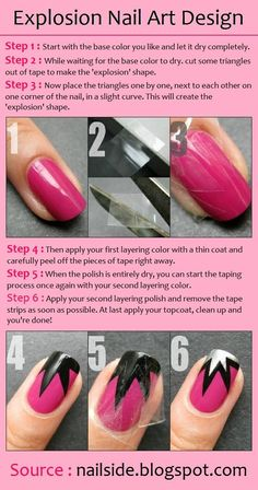 Explosion Nail Art Design - Beauty Tips, Fashion Trends and Styles Fancy Nails, Love Nails, Diy Nails, How To Do Nails, Pretty Nails, Tips Belleza, Nail Tutorials, Design Tutorials, Creative Nails