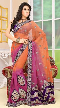 Pleasing Peach and Pink Saree