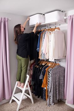an Open Closet System DIY open closet system- for those with tiny bedroom closets!DIY open closet system- for those with tiny bedroom closets! Open Wardrobe, Diy Wardrobe, Bedroom Wardrobe, Diy Bedroom, Trendy Bedroom, Bedroom Apartment, Bedroom Ideas, Wardrobe Storage, Master Bedroom