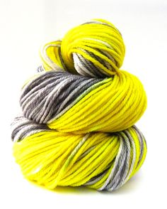 Hand Dyed Yarn - Superwash Merino, Worsted SW Yarn in Caution - Preorder.. $21.00, via Etsy.