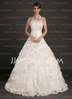 Wedding Dresses - $224.49 - Ball-Gown Halter Chapel Train Taffeta Organza Wedding Dress With Lace Beadwork (002015494) http://jjshouse.com/Ball-Gown-Halter-Chapel-Train-Taffeta-Organza-Wedding-Dress-With-Lace-Beadwork-002015494-g15494