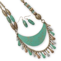 Tone Fashion Set With Turquoise Patina Look Metal