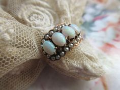 Victorian 10k Opal Seed Pearl Ring Antique Fine Estate Jewelry