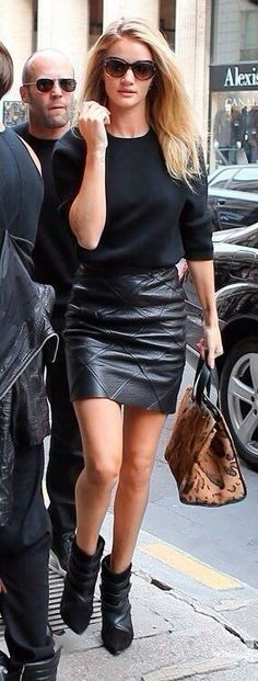 all black ensemble with leather skirt and boots; I need to add some tights to this outfit.