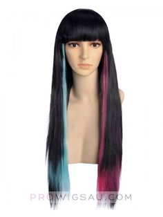 Xaphor Long Black Pink Blue Wig Cosplay, Sexy Pink Wig