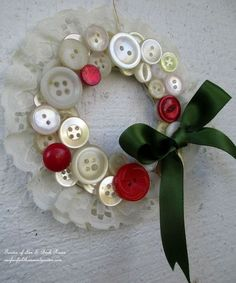 vintage button wreath ornaments, christmas decorations, crafts, diy, seasonal holiday decor, wreaths, Pearly white buttons catch the light