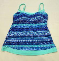 Beach Diva size 8 Women Tankini Swim Top Teal Blue Gold Glitter Aztec Print Pads   Clothing, Shoes & Accessories, Women's Clothing, Swimwear   eBay!