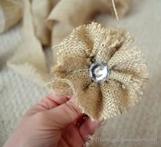 NO-sew Burlap Rosette Tutorial (DIY Fabric Flower tutorial) | The Frugal Homemaker