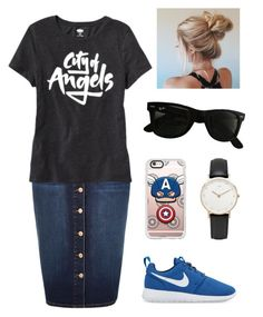 """""""City of angels"""" by jen1301 ❤ liked on Polyvore featuring River Island, Old Navy, NIKE, Casetify, Daniel Wellington and Ray-Ban"""
