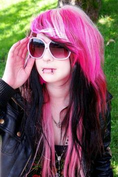 Pink, Black, & White Hair✶ #Hairstyle #Colorful_Hair #Dyed_Hair