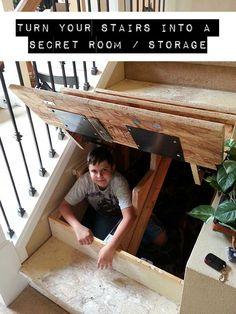 Turn Your Stairs Into A Secret Room / Storage - SHTF Preparedness