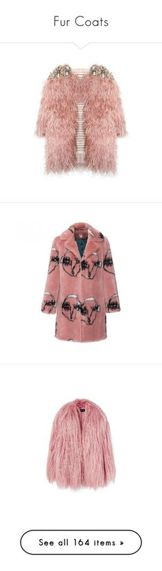 """""""Fur Coats"""" by marcellamic ❤ liked on Polyvore featuring jackets, outerwear, coats, tops, coats & jackets, fur, faux fur coat, mid length coat, red faux fur coat and rose coat"""
