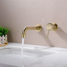 Bathroom Wall Concealed Basin Mixer Tap, Brushed Brass Gold | eBay