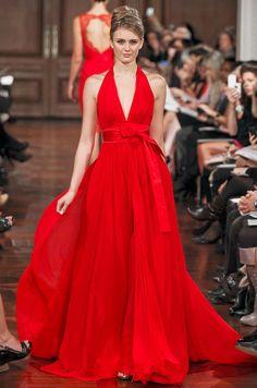 Cly Halter V Neck A Line Red Chiffon Wedding Dress